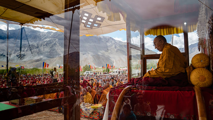 A view of the teaching pavilion during the Avalokiteshvara empowerment given by His Holiness the Dalai Lama in Padum, Zanskar, J&K, India on July 23, 2018. Photo by Tenzin Choejor