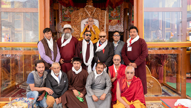 Representatives from the local communities posing for a group photo with His Holiness the Dalai Lama in Padum, Zanskar, J&K, India on July 23, 2018. Photo by Tenzin Choejor