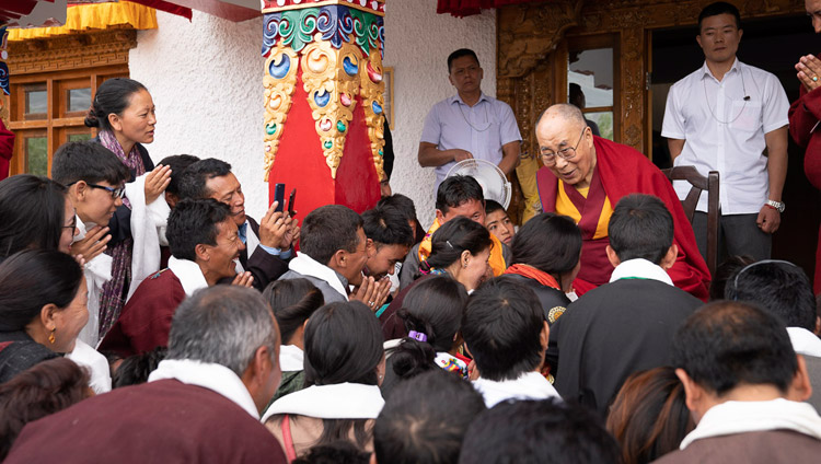 His Holiness the Dalai Lama speaking with former Tibetan Children's Village School students at his residence in Padum, Zanskar, J&K, India on July 24, 2018. Photo by Tenzin Choejor