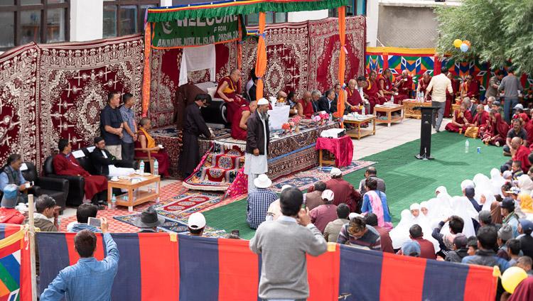 His Holiness the Dalai Lama speaking at the Model Public School in Padum at the invitation of the Anjumane Moen-ul-Islam in Padum, Zanskar, J&K, India on July 24, 2018. Photo by Tenzin Choejor