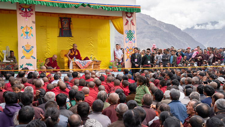 His Holiness the Dalai Lama addressing the crowd at the new medical facility known as the Men-Tsee-Khang in Padum, Zanskar, J&K, India on July 24, 2018. Photo by Tenzin Choejor