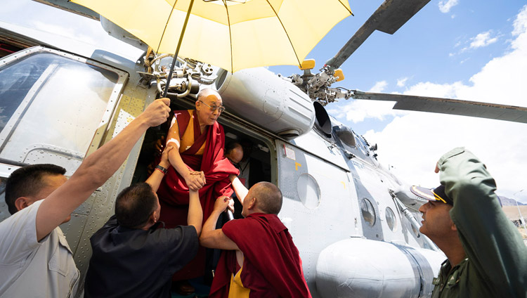 His Holiness the Dalai Lama arriving by helicopter in Kargil, Ladakh, J&K, India on July 25, 2018. Photo by Tenzin Choejor