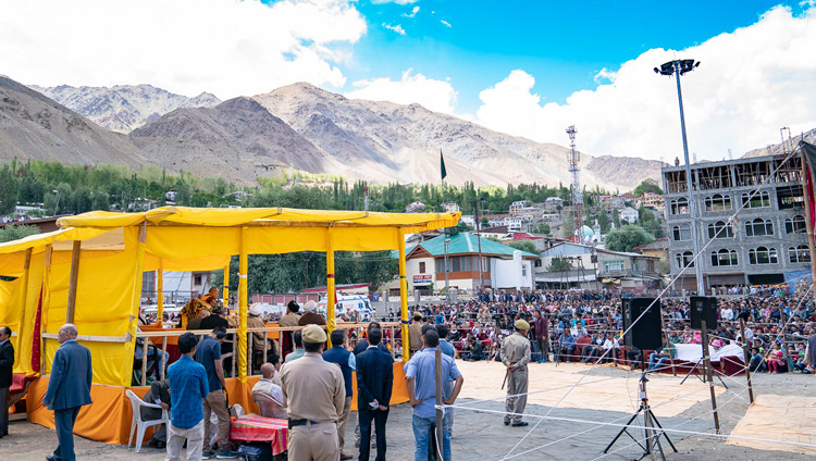 A view of Hussaini Park during His Holiness the Dalai Lama's talk in Kargil, Ladakh, J&K, India on July 25, 2018. Photo by Tenzin Choejor