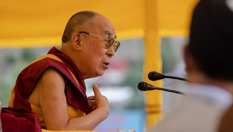 His Holiness the Dalai Lama addressing the crowd at Hussaini Park in Kargil, Ladakh, J&K, India on July 25, 2018. Photo by Tenzin Choejor