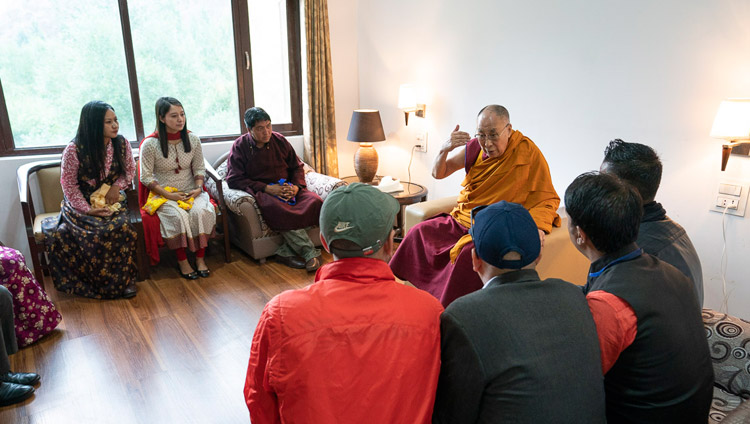 His Holiness the Dalai Lama speaking with members of the media at his hotel in Kargil, Ladakh, J&K, India on July 26, 2018. Photo by Tenzin Choejor