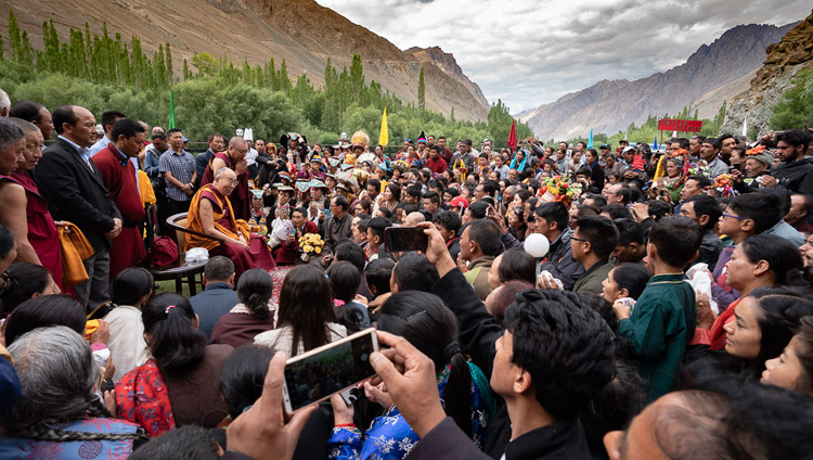His Holiness the Dalai Lama addressing a group of Buddhists from the Kargil area on the lawn of his hotel in Kargil, Ladakh, J&K, India on July 26, 2018. Photo by Tenzin Choejor