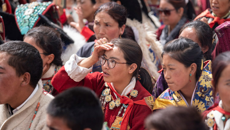 Members of the audience listening to His Holiness the Dalai Lama speaking at Spring Dales Public School in Mulbekh, Ladakh, J&K, India on July 26, 2018. Photo by Tenzin Choejor