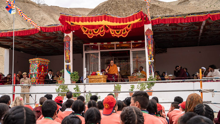 A view of the stage during His Holiness the Dalai Lama's visit to Spring Dales Public School in Mulbekh, Ladakh, J&K, India on July 26, 2018. Photo by Tenzin Choejor