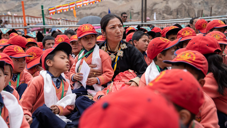 Young students gathered to attend His Holiness the Dalai Lama's talk at Spring Dales Public School in Mulbekh, Ladakh, J&K, India on July 26, 2018. Photo by Tenzin Choejor