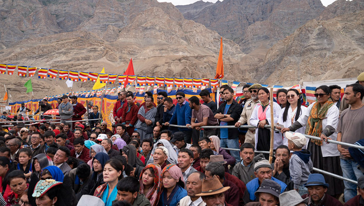 Relatives of students and members of the public listening to His Holiness the Dalai Lama speaking at Spring Dales Public School in Mulbekh, Ladakh, J&K, India on July 26, 2018. Photo by Tenzin Choejor