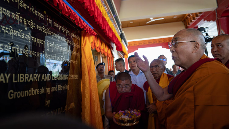 His Holiness the Dalai Lama unveiling the foundation stone for the Library and Learning Center at Thiksey Monastery in Leh, Ladakh, J&K, India on July 29, 2018. Photo by Tenzin Choejor