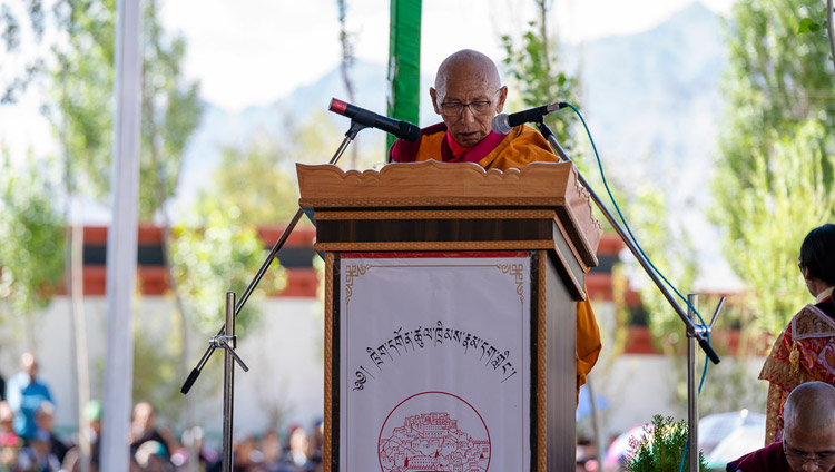 Thiksey Rinpoche speaking at the ground breaking ceremony of the Library and Learning Centre at Thiksey Monastery in Leh, Ladakh, J&K, India on July 29, 2018. Photo by Tenzin Choejor