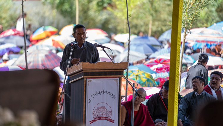 MLA, Rigzin Jora speaking at the ground breaking ceremony of the Library and Learning Centre at Thiksey Monastery in Leh, Ladakh, J&K, India on July 29, 2018. Photo by Tenzin Choejor
