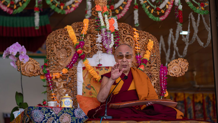 His Holiness the Dalai Lama addressing the crowd of more than 20,000 on the first day of his two day teaching in Leh, Ladakh, J&K, India on July 30, 2018. Photo by Tenzin Choejor