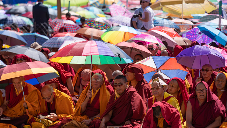 Members of the monastic community listening to His Holiness the Dalai Lama's teaching at Shewatsel Teaching Ground in Leh, Ladakh, J&K, India on July 30, 2018. Photo by Tenzin Choejor