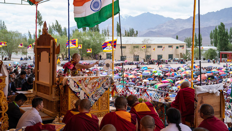 His Holiness the Dalai Lama speaking at ibetan Children's Village School Choglamsar in Leh, Ladakh, J&K, India on August 1, 2018. Photo by Tenzin Choejor
