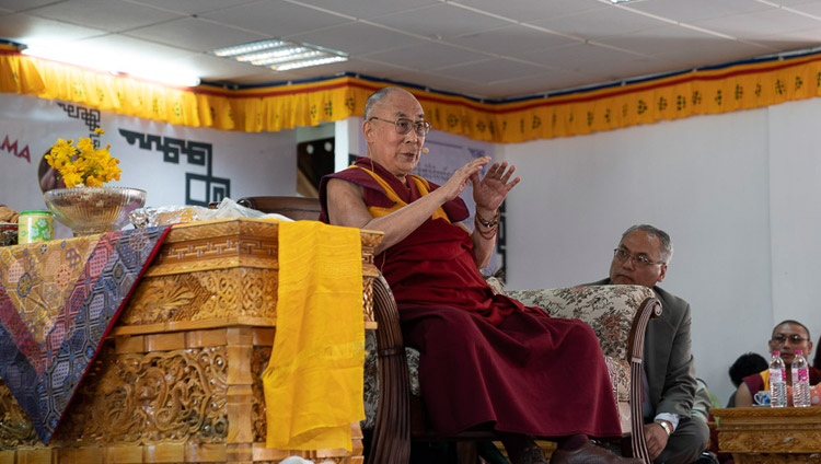 His Holiness the Dalai Lama speaking to students and staff at Eliezer Joldan Memorial College in Leh, Ladakh, J&K, India on August 2, 2018. Photo by Tenzin Choejor