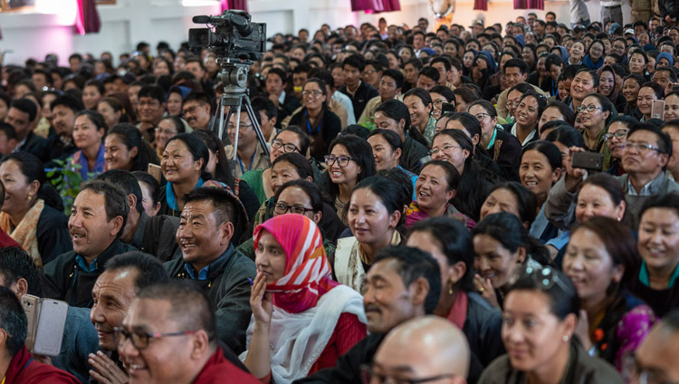 More than 1500 students and staff listening to His Holiness the Dalai Lama speaking at Eliezer Joldan Memorial College in Leh, Ladakh, J&K, India on August 2, 2018. Photo by Tenzin Choejor