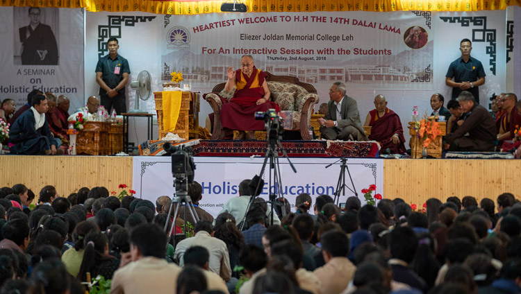 A view of the stage as His Holiness the Dalai Lama answers question from the audience during his talk at Eliezer Joldan Memorial College in Leh, Ladakh, J&K, India on August 2, 2018. Photo by Tenzin Choejor