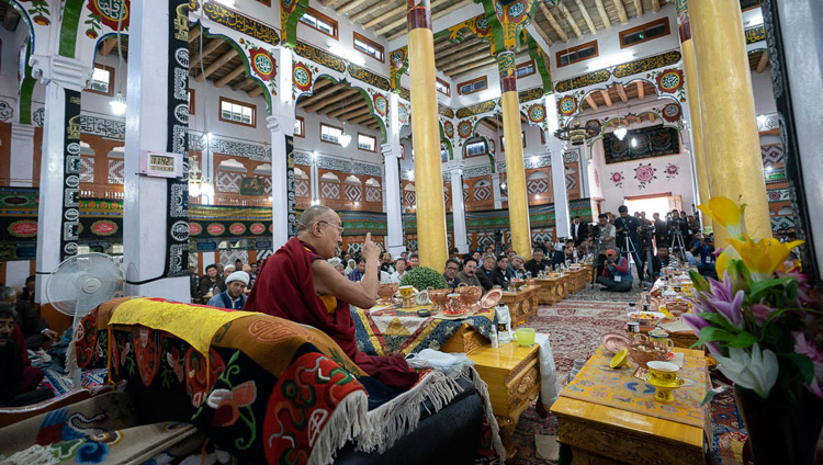 His Holiness the Dalai Lama speaking at Imam Barga Mosque in Chushot Yokma, Leh, Ladakh, J&K, India on August 2, 2018. Photo by Tenzin Choejor