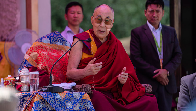 His Holiness the Dalai Lama speaking at the inauguration ceremony of the park at Juma Bagh in Leh, Ladakh, J&K, India on August 3, 2018. Photo by Tenzin Choejor