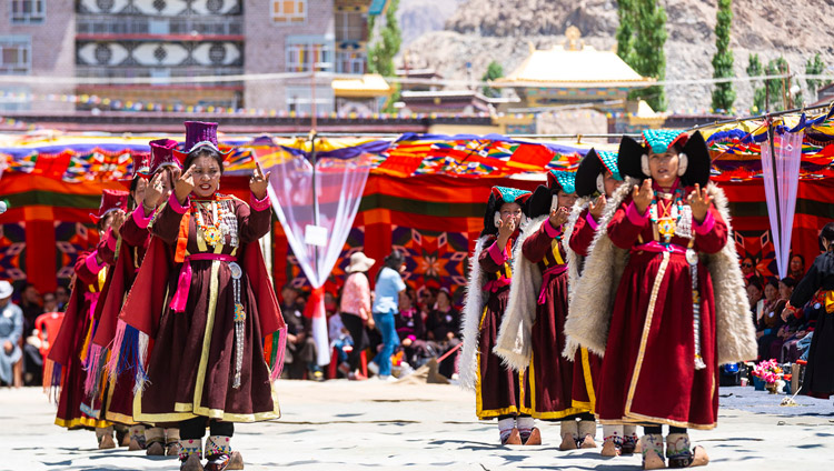 Traditional songs and dances performed by Ladakhi performers at the farewell luncheon for His Holiness the Dalai Lama at the Shewatsel teaching ground in Leh, Ladakh, J&K, India on August 3, 2018. Photo by Tenzin Choejor