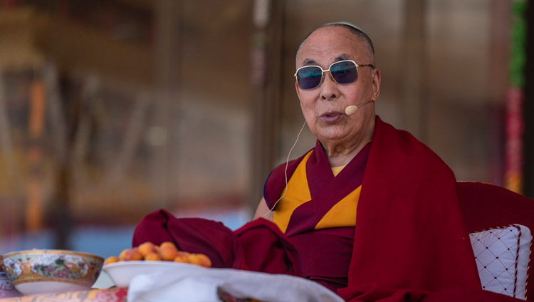 His Holiness the Dalai Lama addressing the gathering at the farewell luncheon at the Shewatsel teaching ground in Leh, Ladakh, J&K, India on August 3, 2018. Photo by Tenzin Choejor