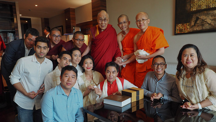 His Holiness the Dalai Lama with members of a a Thai-Tibetan Exchange Program after their meeting in New Delhi, India on August 5, 2018. Photo by Jeremy Russell