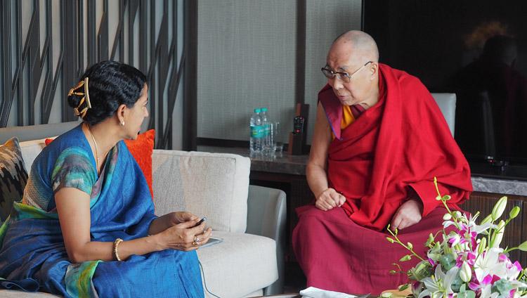 Shoba Narayan interviewing His Holiness the Dalai Lama in Bengaluru, Karnataka, India on August 10, 2018. Photo by Jeremy Russell