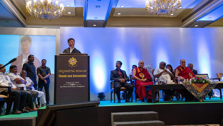 Central Tibetan Administration President Dr Lobsang Sangay addressing the audience at the Thank You Karnataka program in Bengaluru, Karnataka, India on August 10, 2018. Photo by Tenzin Choejor