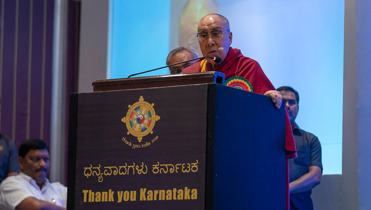 His Holiness the Dalai Lama addressing the audience at the Thank You Karnataka program in Bengaluru, Karnataka, India on August 10, 2018. Photo by Tenzin Choejor