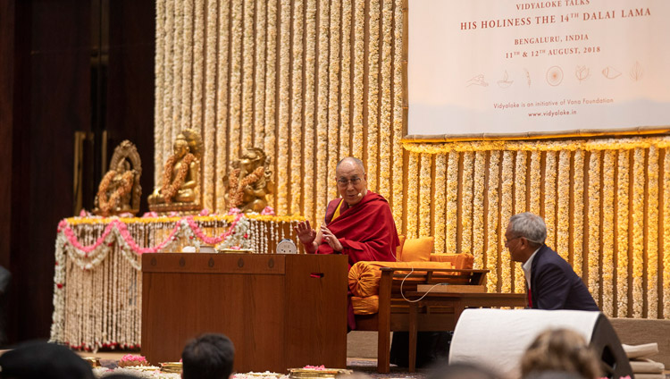 His Holiness the Dalai Lama answering questions from the audience during his talk in Bengaluru, Karnataka, India on August 11, 2018. Photo by Tenzin Choejor