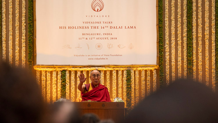 His Holiness the Dalai Lama addressing the audience during his talk in Bengaluru, Karnataka, India on August 12, 2018. Photo by Tenzin Choejor