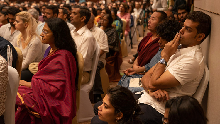 Some of the more than 1000 people attending His Holiness the Dalai Lama'a talk in Bengaluru, Karnataka, India on August 12, 2018. Photo by Tenzin Choejor