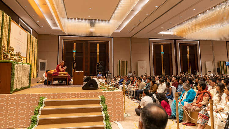 A view of the stage at the Conrad Hotel ballroom during His Holiness the Dalai Lama's talk in Bengaluru, Karnataka, India on August 12, 2018. Photo by Tenzin Choejor
