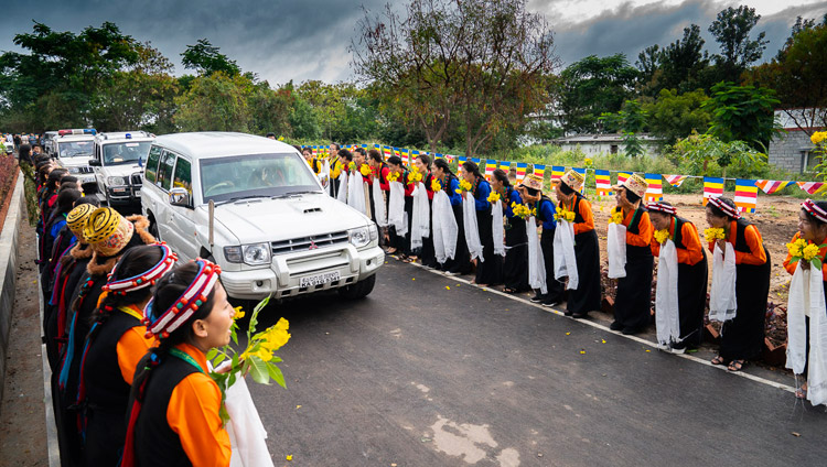 His Holiness the Dalai Lama's motorcade arriving at the Dalai Lama Institute of Higher Education in Sheshagrihalli, Karnataka, India on August 13, 2018. Photo by Tenzin Choejor