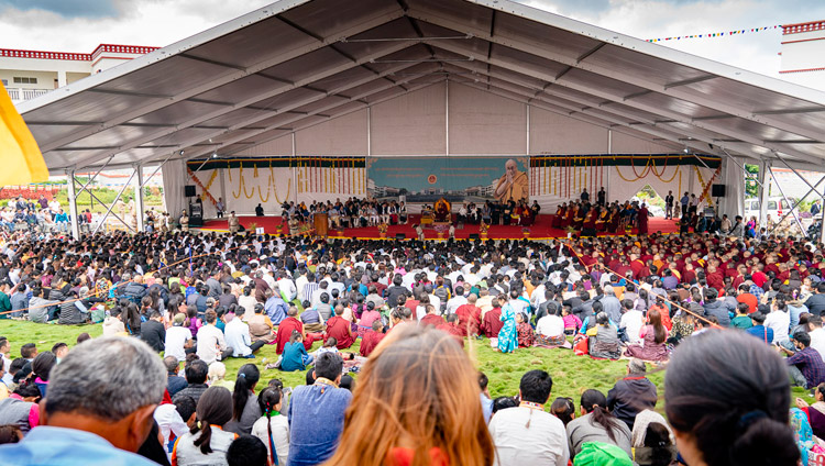 A view of the amphitheater during His Holiness the Dalai Lama's talk at the Dalai Lama Institute of Higher Education in Sheshagrihalli, Karnataka, India on August 13, 2018. Photo by Tenzin Choejor