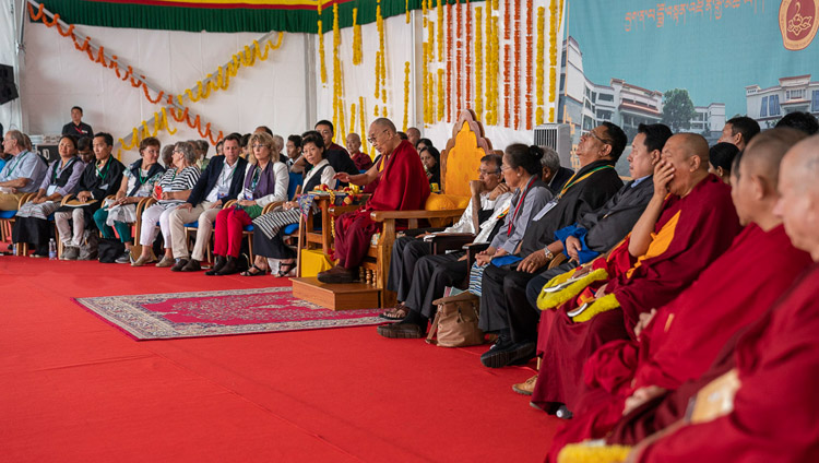 His Holiness the Dalai Lama speaking at the Dalai Lama Institute of Higher Education in Sheshagrihalli, Karnataka, India on August 13, 2018. Photo by Tenzin Choejor