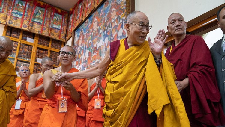 His Holiness the Dalai Lama waving to the audience on his arrival at the Main Tibetan Temple in Dharamsala, HP, India on September 4, 2018. Photo by Tenzin Choejor