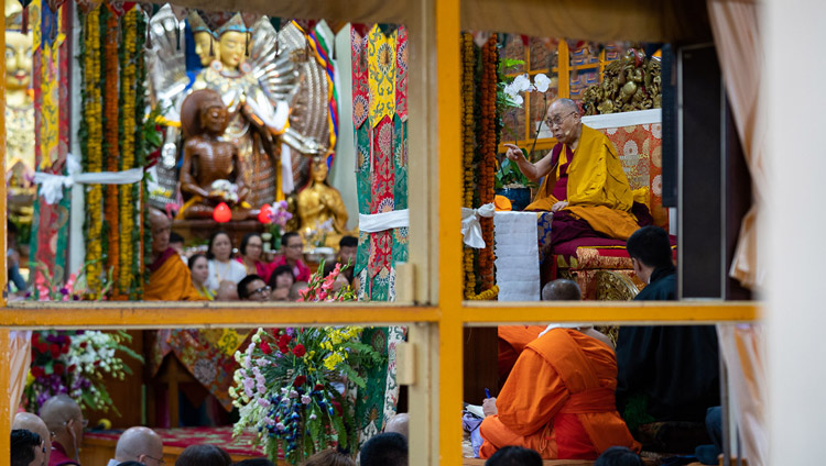 A view from outside the Main Tibetan Temple during His Holiness the Dalai Lama's teaching in Dharamsala, HP, India on September 4, 2018. Photo by Tenzin Choejor