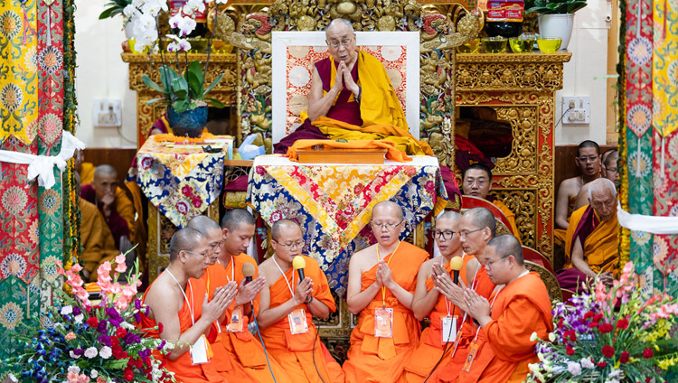 Thai monks chanting in Pali a praise of the Ten Perfections according to the Theravada Tradition at the start of the second day of His Holiness the Dalai Lama's teachings at the Main Tibetan Temple in Dharamsala, HP, India on September 5, 2018. Photo by Tenzin Choejor