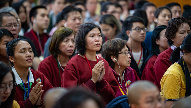 Members of the audience listening to His Holiness the Dalai Lama during the third day of his teachings at the Main Tibetan Temple in Dharamsala, HP, India on September 6, 2018. Photo by Tenzin Choejor