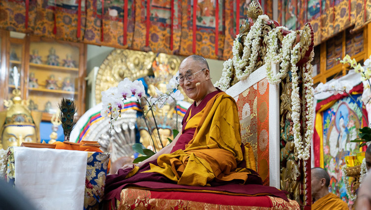 His Holiness the Dalai Lama addressing the audience on the third day of his teachings at the Main Tibetan Temple in Dharamsala, HP, India on September 6, 2018. Photo by Tenzin Choejor