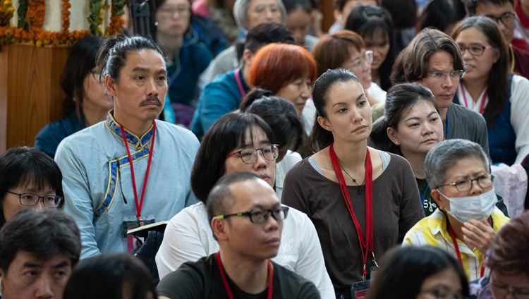 Members of the audience listening to His Holiness the Dalai Lama during a question and answer session on the final day of teachings at the Main Tibetan Temple in Dharamsala, HP, India on September 7, 2018. Photo by Tenzin Choejor