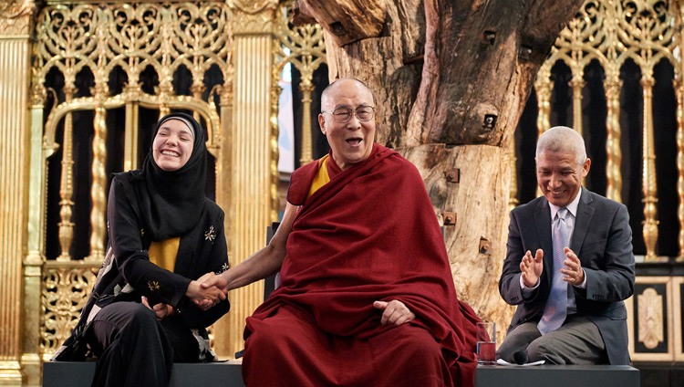 His Holiness the Dalai Lama responding to Selma Boulmalf's question during the discussion on 'Sickness, Aging and Death' at the Nieuwe Kerk in Amsterdam, Netherlands on September 15, 2018. Photo by Olivier Adam
