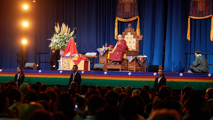 His Holiness the Dalai Lama addressing more than 5,000 members of the Tibetan community from the Netherlands, Belgium, Britain, Spain and Austria gathered at the Ahoy convention centre in Rotterdam, Netherlands on September 16, 2018. Photo by Olivier Adams