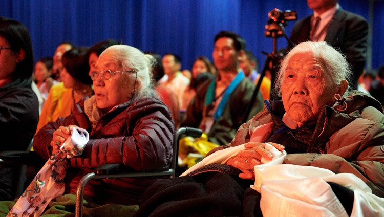 Elderly members of the Tibetan community listening to His Holiness the Dalai Lama during their meeting at the Ahoy convention centre in Rotterdam, Netherlands on September 16, 2018. Photo by Olivier Adams