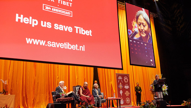 International Campaign for Tibet (ICT) Executive Director Tsering Jhampa introducing His Holiness the Dalai Lama and Richard Gere at the start of their conversation at the Ahoy convention centre in Rotterdam, Netherlands on September 16, 2018. Photo by Olivier Adams