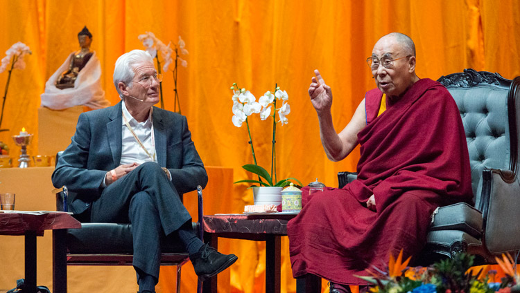 International Campaign for Tibet (ICT) Chairman Richard Gere and His Holiness the Dalai Lama in conversation at the Ahoy convention centre in Rotterdam, Netherlands on September 16, 2018. Photo by Jurjen Donkers