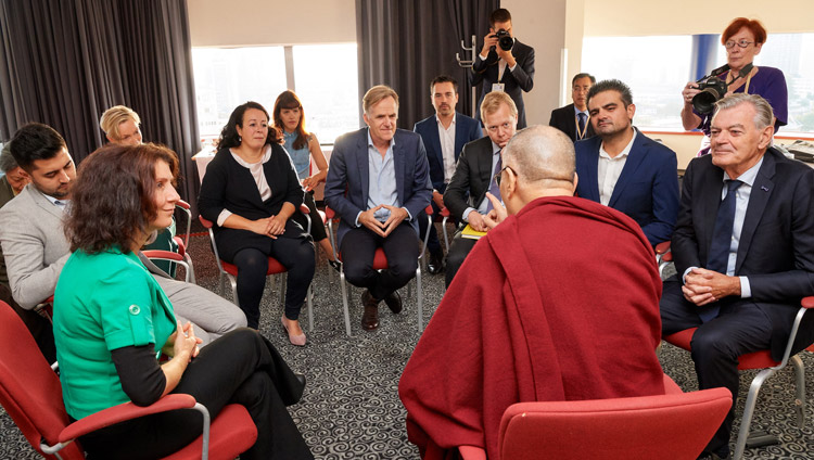 His Holiness the Dalai Lama meeting with Dutch Parliamentarians in Rotterdam, the Netherlands on September 17, 2018. Photo by Olivier Adam